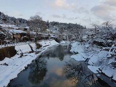 takayama, japan red brigde in snow