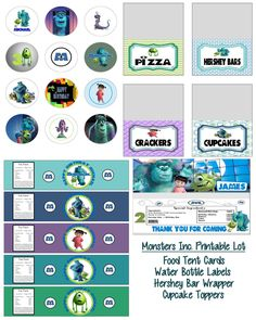 Disney Pixar Monsters Inc Birthday Party Printable Lot Favors and More. $15.00, via Etsy.