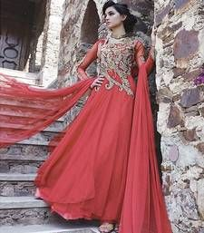 Buy Red embroidered Net semi stitched party-wear-gowns party-wear-gown online