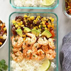 Grilled Shrimp Meal Prep Bowls Recipes These Fresh Grilled Shrimp Meal Prep Bowls are about to become your go-to meal prep recipe for the week! Meal Prep Bowls, Lunch Meal Prep, Healthy Meal Prep, Healthy Food, Meal Prep Containers, Lunch To Go, Pork Rib Recipes, Shrimp Recipes, Tilapia