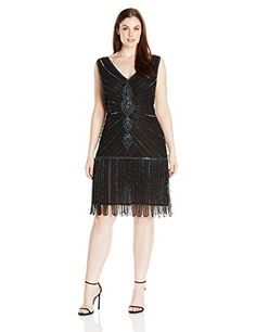 Unique Vintage Womens Plus Size 1920s Deco Beaded Fringe Aelita Flapper Dress Black 4X >>> You can get more details by clicking on the image. (Note:Amazon affiliate link)