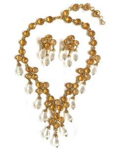 Rare Vintage Signed Schreiner New York Citrine Rhinestones and Crystal Necklace #SchreinerNewYork
