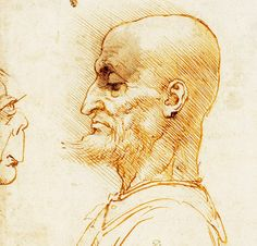 38. A Bearded Man in Profile, Confronted by a Grotesque Profile, 1492, Pen and ink