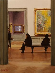 Pauline Roche | Across the Galleries | Museum interiors like the Met or the Louvre also offer Roche the chance to depict a few of her favourite things—grand interiors, gilded frames, and the play of light across these rich surfaces.