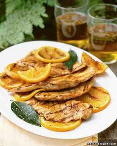 Paillards are simply boneless, skinless chicken breasts that have been pounded to an even thinness so they cook quickly and evenly -- just three minutes per side on a hot grill. Orange marmalade, lemon juice, orange juice, and bay leaves make a tangy-sweet glaze for the chicken.