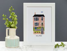 First Christmas in a new home : Custom House Portrait in Vintage Style by wolfwhistlestudio // Etsy
