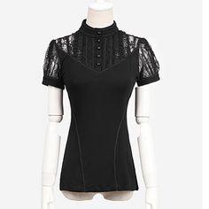 Women Black Lace Short Sleeve Victorian Gothic Fashion Tops Shirts SKU-11407008