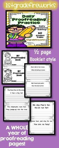Daily editing, revising, rewriting. Writing complete sentences correcting for spelling, grammar, punctuation, and other conventions.  2 sentences per day.  Booklet style with 2 per page. Black and white to save on ink! https://www.teacherspayteachers.com/Product/Daily-Proofreading-PracticeFix-it-2-2562386