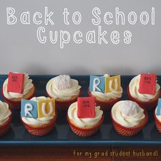 Back to School Cupcakes ~ PhD life!  Vanilla Cupcakes with Cola Buttercream.  Fondant cupcake toppers ~ psychology textbook, brain and Ryerson University! From ~ Sew Lah Tea Dough ♫