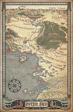 """Osten Ard — from """"Memory, Sorrow and Thorn"""" by author Tad Williams. Fantasy Map Making, Fantasy World Map, Fantasy Places, High Fantasy, Medieval Fantasy, Fantasy Art, Fantasy Literature, Fantasy Books, Tad Williams"""