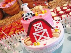Barn birthday cake, farm theme party