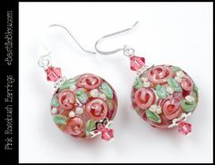 $30 Pink Rosebush Earrings - BBL's Handmade Lampwork Glass Beads SRA Peach Pink Rose Lentils Swarovski Crystal, SSplated