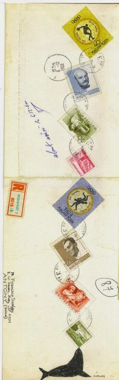 Mail art : francois szalay colos decorated envelope