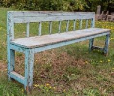 """Simple vintage wood bench with remnants of blue paint. Charming piece! Imported from England. Local delivery and curbside pickup are available only for this bench. Please call for a delivery quote or choose the """"pick up"""" option during your check out process. How To Antique Wood, Vintage Wood, Garden Furniture, Outdoor Furniture, Outdoor Decor, Wood Bench With Back, Garden Ornaments For Sale, Blue Wood, New England"""