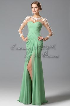 2015 Scoop Full Sleeves Column Prom Dresses With Applique And Ruffles Chiffon Long Sleeve Evening Gowns, Chiffon Evening Dresses, Formal Evening Dresses, Lace Chiffon, Prom Dresses 2016, Prom Dresses With Sleeves, Mermaid Prom Dresses, Party Dresses, Bride Dresses