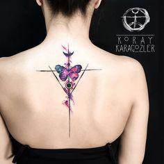 Watercolour Geometric Butterfly Multitone Spine Tattoo