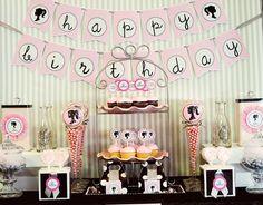 vintage pink and black barbie party