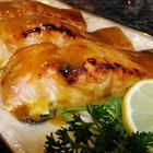 salmon filet-  wrap it in foil and cook at 350 for 25 mins