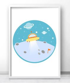 Space nursery or kids room wall art, outer space decor