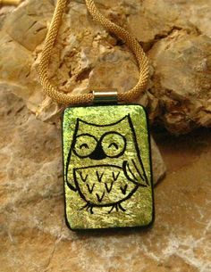 Gold Fused Glass Owl Necklace Dichroic Fused Glass  by GlassCat, $30.00