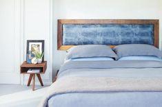 Bett Kopfteil aus Leder mit Holzrahmen