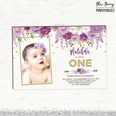 First birthday girl invitation photo card lavender purple gold boho purple floral birthday invitation lavender first filmwisefo Choice Image
