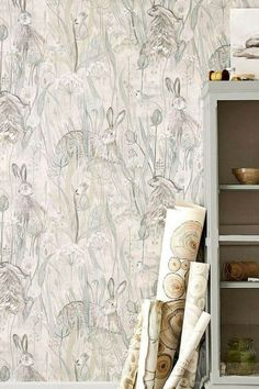 country home accessories The perfect country wallpaper, Dune Hares by Sanderson. Victorian Nursery, Kitchen Wallpaper, Laundry Room Design, Big Girl Rooms, Modern Retro, Rustic Interiors, Home Living Room, Home Accessories, New Homes