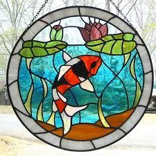 Orange Black and White Koi Fish Stained Glass Suncatcher with Lily Pads Stained Glass Paint, Stained Glass Flowers, Stained Glass Suncatchers, Stained Glass Panels, Stained Glass Projects, Stained Glass Patterns Free, Stained Glass Designs, Mosaic Glass, Glass Art