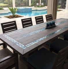 River Moasic Table Top Tile Patio Mosaic Tables
