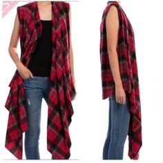 PLAID RUFFLE SCARF VEST I love this vest!  Ruffle flow down the front long like a scarf. Looks amazing with jeans or black pants. Dress it up a little or rock it with boots!  100% cotton!  S (1) M (2) Jackets & Coats Vests