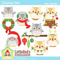 Clip Art: Christmas Owls