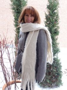 Ribbed White Winter Scarf With Collar