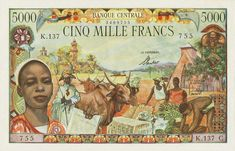 Central African Republic currency 5000 francs banknote of issued by the Bank of Central African States French West Africa, African States, Money Notes, African Market, African Girl, African Beauty, Old Money, Futuristic Art, World Coins