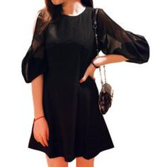 $15.60 Slimming Scoop Neck Long Sleeved Sexy Black Dress For Women