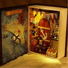 Hoomeda B001 Sailing Diary Pirates Boat DIY Dollhouse Kit Box Theatre Doll House Kid Gift Collection