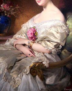 Portrait of Comtesse de Beaussier (detail), Edouard Louis Dubufe, 1850. Oil on canvas.