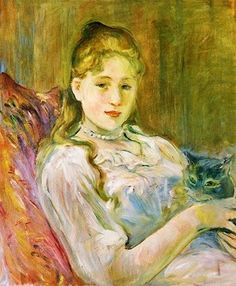 Berthe Morisot (French, 1841-1895) - Girl with Cat, 1892
