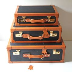 Leather Trimmed Luggage Set