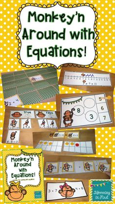 Monkey'n Around with Equations!  Included are 8 activities that will help your students practice determining if an equation is true or false, deciding if two equations are equal, finding the missing addend and balancing equations. There are both color and blackline options for printing.  $