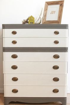 Two Tones Gray Tallboy Dresser by MegMade in 1623 West Montrose Avenue, Chicago, IL 60613, USA ~ Apartment Therapy Classifieds
