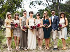 Groomswomen and bridesmen in wedding party. Don't confine your list of VIPs to your female friends (and vice versa for grooms). If your best friend in the world happens to be a guy, make him your bridesman, or your groom can ask his good friend to be a groomswoman. Coordinate their looks with the rest of the party with accessories like a colorful bow tie or sash.