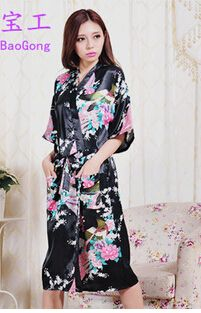 High Quality Robe Kimono Faux Silk Long Silk Robe White Chinese Silk Robe  Kimono Dressing Gowns b52e41e5f