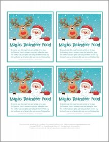 Gift Tags for Magic Reindeer Food via organizedhome.com (recipe: 1/2 cup uncooked oatmeal, 1/2 cup sugar, 1/4 cup red or green sugar crystals) [Note: many Internet recipes for Magic Reindeer Food call for craft glitter, which can harm birds or wildlife if ingested. For safety, substitute colored sugar crystals and be kind to animals!]