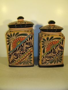 Talavera Canisters Mexican Pottery Terra by TheProfessorsAttic, $50.00
