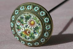 Mini Micro Mosaic Hat Pin in Excellent Condition 1900