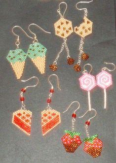 Sweets Brick Stitch Earring Set - Pattern set on Craftsy for 4.00!
