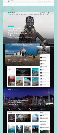 USA Today Redesign concept on Behance Web Design Examples, News Web Design, Web News, Website Design Inspiration, Web Design Inspiration, Design Ideas, Most Visited National Parks, User Interface Design, Usa Today