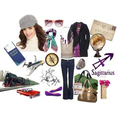 """""""Sagittarius"""" by annika-haglund on Polyvore She's always on the go! The Sag is not into uncomfortable heels or encumbering clothes. She loves funky one of a kind pieces that sets her apart. Commonly hippy, she's got a pair of well worn jeans she could live in. She loves blue and purple. The Sagittarius has fantastic hair that she'll often stuff into a beanie or newsboy because, really, who has time for fancy hair when you're on the go?"""