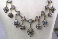 Antique-Italian-Micro-Mosaic-Necklace-with-Drops-Exquisite-Detail-A-Beauty-RARE