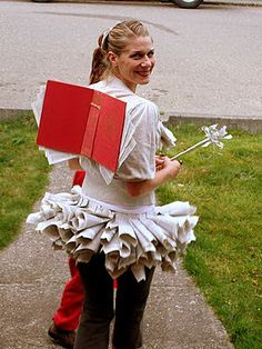 There's nothing more magical than a book, so a book fairy totally makes sense, right? What you need to do: Get a big, hardcover book. Use the cover as the wings, and make a tutu out of rolled-up book pages. Source: Lilliedale